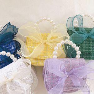 Lady style children woolen pearls chain handbags girls lace gauze Bows princess one-shoulder bag kids messenger bags women mini purse Q2711