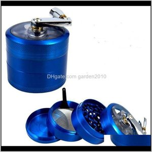 Other Smoking 55Mm 4 Layers Tobacco Grinder Accessories Zinc Alloy Hand Crank Metal Grinders Qf5Q4 Ozvtm