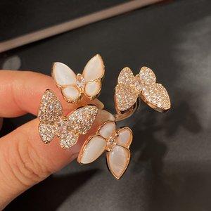 Pretty Elmas Zirkonya 3D Çift Kelebekler Yüzükler Moda Köpüklü Lüks Tasarımcı Yüzükler Kadınlar Kızlar Için Hediyeler Açık Ayarlanabilir