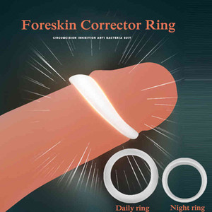 yutong 2PCS Silicone Male Foreskin Corrector Resistance Ring Delay Ejaculation Penis s nature Toys for Men Daily Night Cock