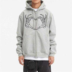 Men's Y2k Aesthetic Gothic Hoodie Halloween Graphic Skeleton Print Long Sleeve Zip Up Sweatshirts Jacket Coat Streetwear