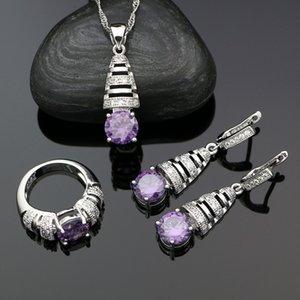 Silver 925 Purple Sets for Women Cubic Zirconia Crystal Drop Earrings Necklace Pendant Ring Jewelry Kit