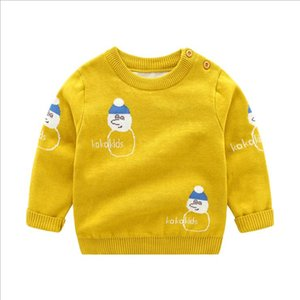 Christmas Knitted Sweater Cartoon Printed Pullover Toddler Boys Clothes Long Sleeve Children Outwear Winter Kids Clothing 9 Designs BT5747