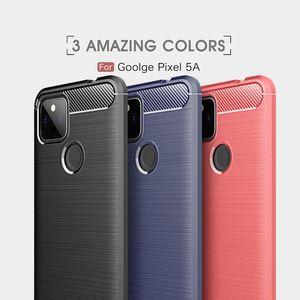 Cas de silicone de téléphone portable TPU Soft TPU Fibre de carbone Housse arrière brossée antichoc pour Google Pixel 5A 5XL