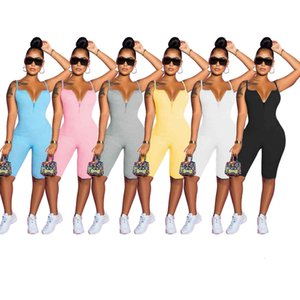 Women halter bodycon Jumpsuits Rompers knitted sling solid color conjoined shorts Summer womens casual jumpsuit bodysuit S-2XL