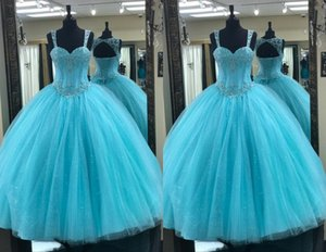2021 Dramatic Blue Quinceanera Dresses with Straps Crystal Beaded Ball Gown Bling Sequined Tulle Sweet 15 Prom Eveening Dress