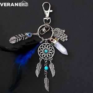 Chaveiros Dream Chaveiros Chaveiros Azul Feather Borla Hamsa Mão Mal Eye Keyring para Carro de Parede Suspensão Decoração Amuleto Boho Jóias 599 Q2