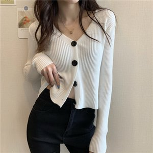 Neoe Chic Knitwear Cardigan Cardigan Femenino Color Sólido Slim Fit Knitsweaters Mujeres Pull Femme Manga Larga Séter Abrigo Punto de Mujeres Tees