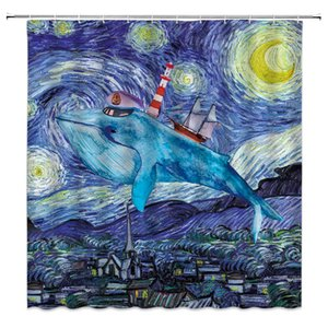 Hada Ballena Cortina de Ducha Náutico Sueño de Ballena Flying Starry Night Decor Fantasy Nature, Tela Set Ganchos incluidos
