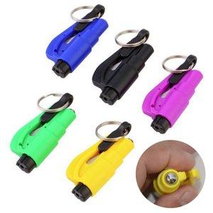 مصغرة السلامة مطرقة سلسلة المفاتيح قلادة سيارة نافذة زجاج كاسر المقعد حزام القاطع توفير الحياة الهروب الانقاذ لك أداة الطوارئ 8 ألوان