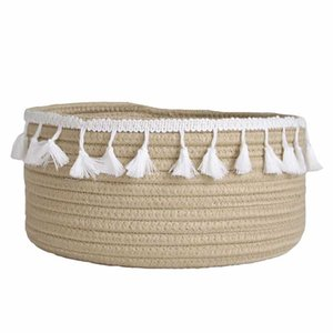 Cotton Rope Storage Baskets Weaving Nordic Home Sundries Baby Toys Candy Tassels Storages Basket Desktop Small Organizer Box