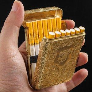 Классический европейский стиль чистые меди ультратонкие творческие 3 стороны резьба мужской сигареты