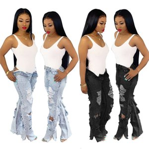 Womens Button Zipper Fly Jeans Spring Straight Hole Jean Long Pants Girls High Waist Fashion Trousers