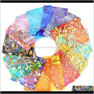 Pouches, & Drop Delivery 2021 Chanfar 500Pcs 9X12Cm Organza Bags Jewelry Wedding Favors Party Pattern Printed Dable Packaging Display Gift Po