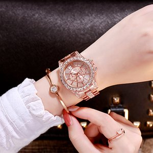 DZG New Gold Three-Color Quartz Watch Fashion Casual Fake Three Eyes and Six Needles Rhinestone Alloy Wrist Watch Womens Watch