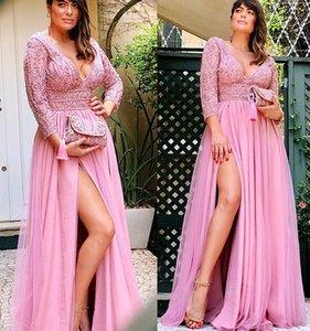 2021 плюс размер арабский ASO EBI сексуальные кружева из бисера выпускного выпускного вечера Deep V-образным вырезом Высокий раскол вечер Формальная партия второе приемное платье платье ZJ205