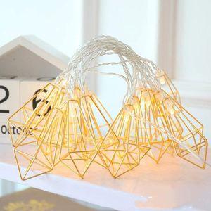 Strings Metal Lights Geometric 300cm 20 LEDs Diamond Rose Gold Luminarias Decorativas For Party Room Decor Gift
