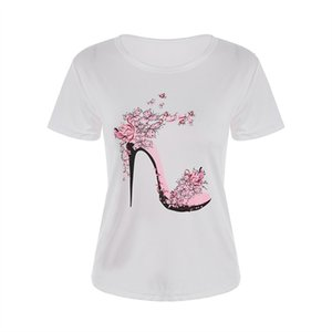 high quality White T Tops Fashion Heel Shoes Letter Print Tshirt Women Shirts Summer Short Sleeve Tee Shirt Femme