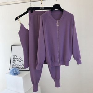 pant High Quality Tracksuits Sweat Suits For Women Zipper Cardigans Coat Vest + Pants Sets Knitted 3pcs Outfits Ensemble Femme 2NT4