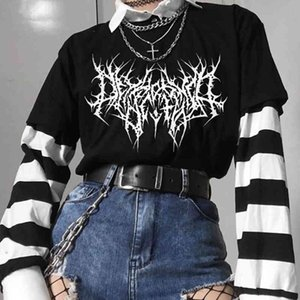 Gothic Dark Women Tshirts Oversize Tee Punk Black Graphic Clothing Kpop Harajuku Streetwear Femme T-shirt Hip Hop Short Mouw