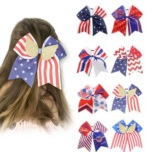 National Independence Day kids Hair Accessories children's bow hairband 16 colors optional Star Spangled flag onion powder rib with rubber band Headband