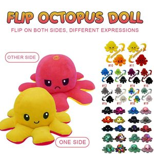 Tiktok Illuminated Flip Octopus Stuffed Plush Toys For Children Cute Angry Smile Emotion Reversable Animal Plush Doll Kids Gift DHL