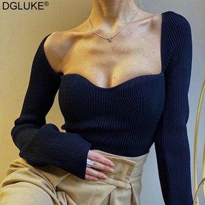 Dgluke 2021 Femmes d'automne Femmes Solide Pull Bureau Dame côtelé Collier carré Collier à manches longues Pull à manches longues Pull Cut Tops en tricot