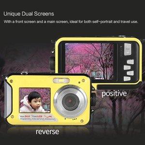 Dual LCD 2.7 Inch HD 24MP 16X Digital Zoom 1080P 30FPS Waterproof Anti-Shake Selfie Camera Camcorder Cameras