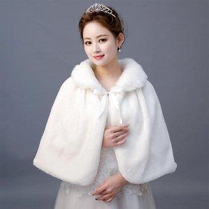 Wraps & Jackets Winter Bridal Capes Wedding Faux Fur Shawl Wrap Bridesmaid Warmer Women With Ribbon Cloak