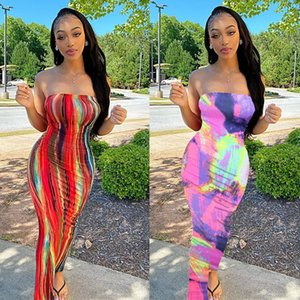 BN063 Women's clothing plus size spring and summer colorful tie-dye strapless dress with breast wrap