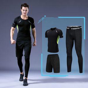 Tracksuits Muscle Muscle Fuerza Chaleco Fitness Manga corta Sports Traje Elástico Running Sportswear Online Shop