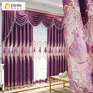 European Luxury Purple Color Embroidered Window Curtains Customized Blackout Curtain For Living Room & Drapes