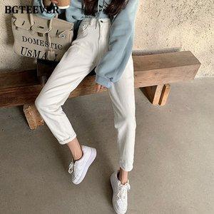 Calças de Streetwear das Mulheres JQY4 Cintura alta Harem Calças para Mulheres Primavera Solta Bolsos Feminino Denim Jeans Branco 2021 Novo Casual