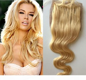 Brazilian Blonde Body Wave Silk Base Closure Middle Part Bleached Knots With Baby Hair Free Part Human Virgin Hair Swiss 613 Closures
