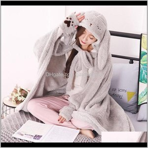 Blankets Kawaii Long Ear Hooded Weighted Blanket Winter Warm Rabbit Pattern Pure Color Cloak With Gloves Women Home Office Accessories 63Bip