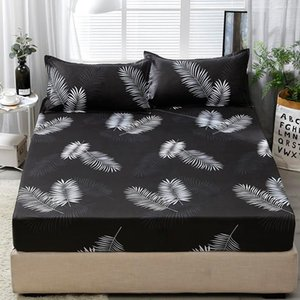 Sheets & Sets 3pcs Fitted Sheet With Case Set Black Leaf Printed Single Queen Size Mattress Protector Cover Bottom For King Bed