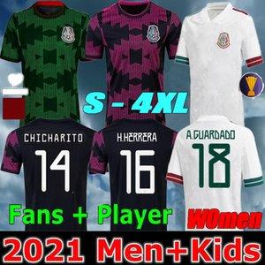 Mulheres + Homens 2021 Futebol Jerseys Concacaf Gold Cup Camisetas 2122 Fãs do México Versão do jogador Chicharito Lozano dos Santos Team Nacional Crianças Futebol Camisas
