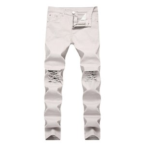 10 couleurs maladroit pantalon mode de mode détruit trou slim jeans jeans de moto déchiré pantalon de denim lavé long pantalon crayon