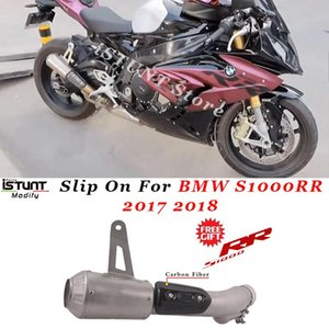 Slip On For S1000RR 2021 Motorcycle GP Exhaust Escape Modified Middle Link Pipe Muffler With Carbon Fiber Heat Guard System