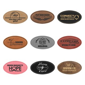 """3 1 4"""" x 1 3 4"""" Laserable Leatherette Oval Badge Blank with Magnet"""