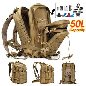 50L Fishing Camping Backpack New 3D Outdoor Sport Large Climbing Hunting Waterproof Military Tactical Travel Outdoor Bag