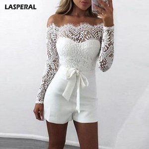 LASPERAL Sexy Lace Off Shoulder Womens Jumpsuit Patchwork Bodycon Rompers 2020 New Arrive Long Sleeve Women Bodysuit1