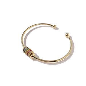 56 No Logo Ornament Supply Fashion Colorful Bright Crystal Lucky Steel Ball Open-Ended Bracelet