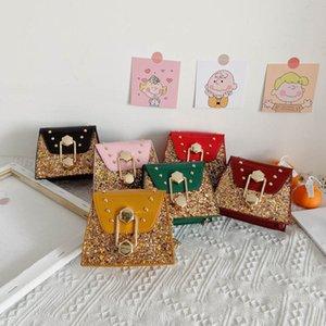 Childrens Handbags Kids Bags Girls Leather Mini Shoulder Bag Sequin Messenger Chain Purses Princess Rivet Accessories B5037
