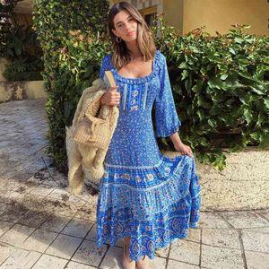 Inspired blue floral frill neckline long sleeve gypsy women maxi belt tied summer dress 210412