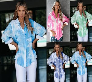European and American hot style women's autumn 2020 new gradient color printing loose tie-dye buttoned shirt