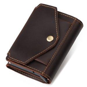 Card Holders Vintage Wallet Blocking Money Automatic Pop-up Case Business Purse Cash Coin Pocket for Men
