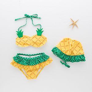 Bikini Swimwears 2021 سبليت ثلاث قطعة لطيف الأناناس الفتيات قليلا الطازجة الربيع الأطفال ملابس السباحة