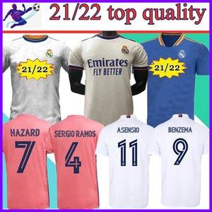 Gerçek Madrid Jerseys 2021 2022 Futbol Futbol Gömlek Sergio Ramos Benzema Asensio Tehlike Camiseta Erkekler + Kids Kit Çorap Ekle 20 21 22 Boyut: S-4XL
