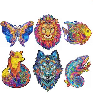 Owl special-shaped Wolf lion animal wooden jigsaw manufacturers for customized irregular jigsaw toys children gifts 3d puzzle
